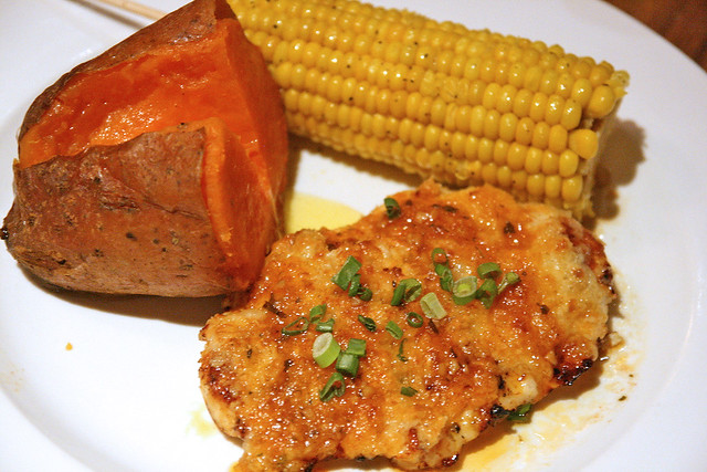 Parmesan Chicken with Smoked Sweet Potato and Corn on the Cob