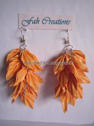 Handmade Jewelry - Origami Paper Leaves Earrings (4) by fah2305