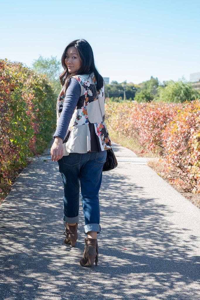 Phillip Lim for Target peplum tank, Phillip Lim x Target floral peplum, Old Navy distressed maternity jeans, Steve Madden fringe boots