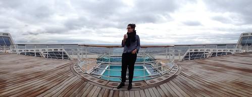 Jenna on an empty deck