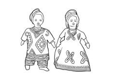 Puppen, ethnische Kleidung