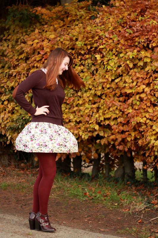 Jumper, floral dress, cut out boots