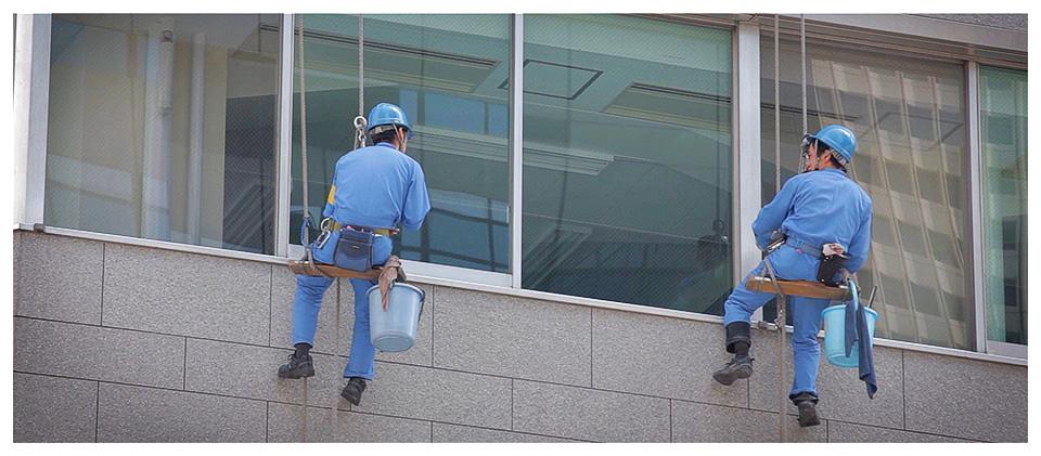 Window Cleaners, Nishi-Shinjuku, Tokyo - Japan