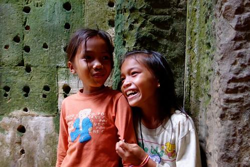 Kids laughing at Angkor Wat, Cambodia