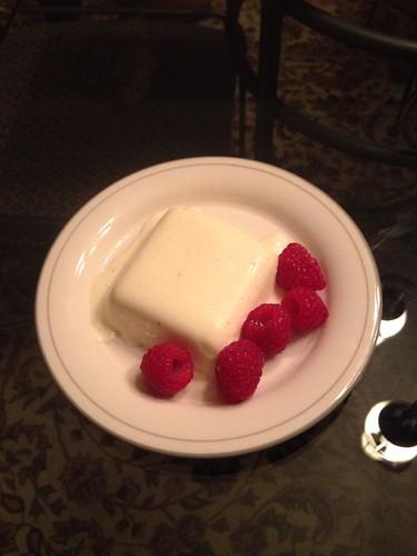 Lemon Pana Cotta with Fresh Raspberries