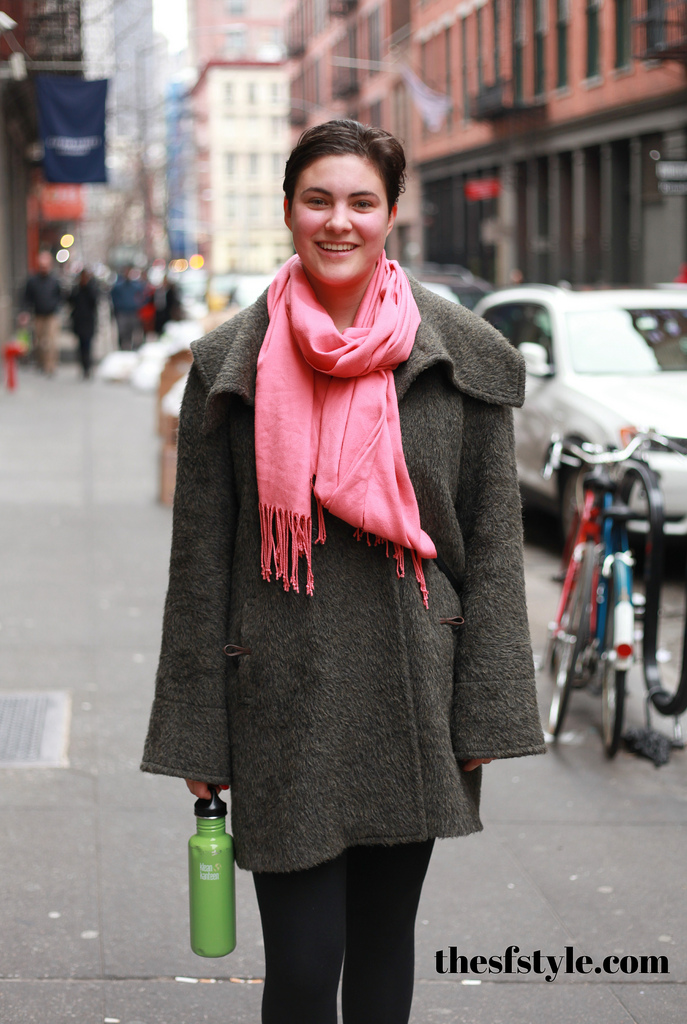 pink scarf, textured coat, new york streetstyle fashion blog,