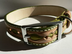 Irish themed tooled dog collar