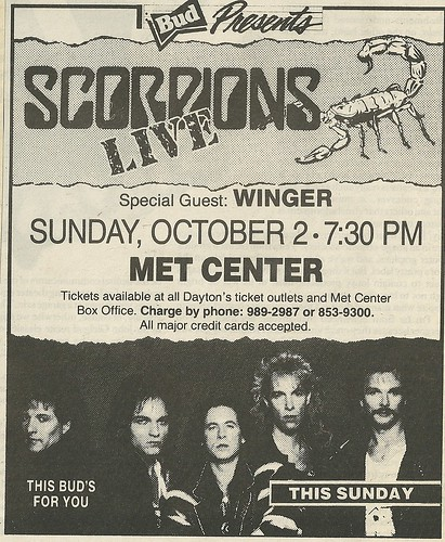 10/02/88 Scorpions/ Winger @ Met Center, Bloomington, MN (Ad 2)
