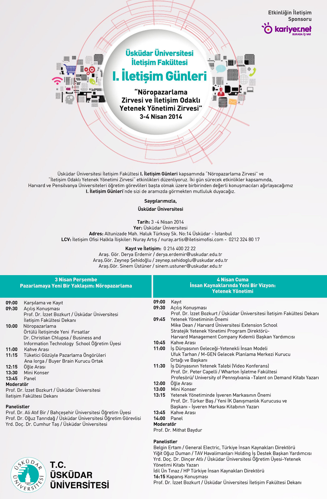 Üsküdar Üniversitesi  I.İletişim Günleri 3-4 Nisan'da!