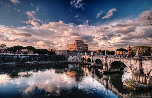 city travel sunset sky italy rome roma reflection castle clouds river tiber angelo fortress castelsantangelo riccardo mantero afsnikkor1635mmf4gedvr potd:country=it