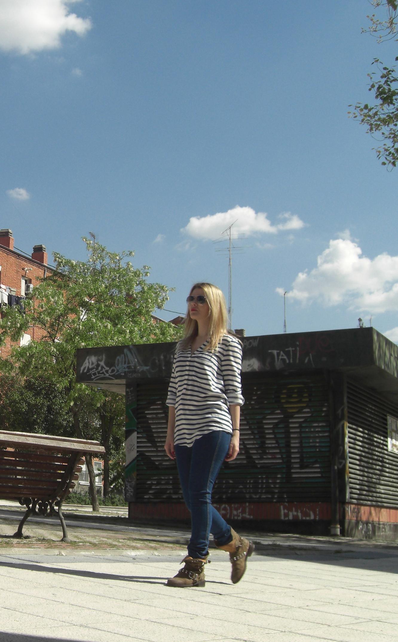 blusa rayas zara; jeans h&m
