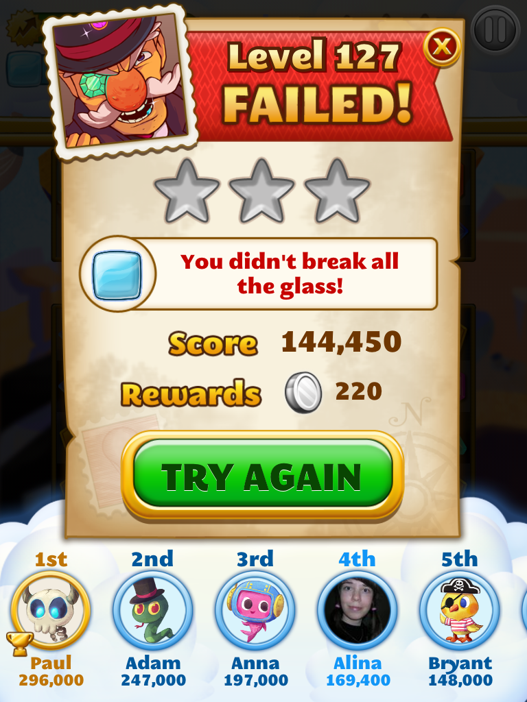 Level Failed - mobile games UI/UX design, mobile games