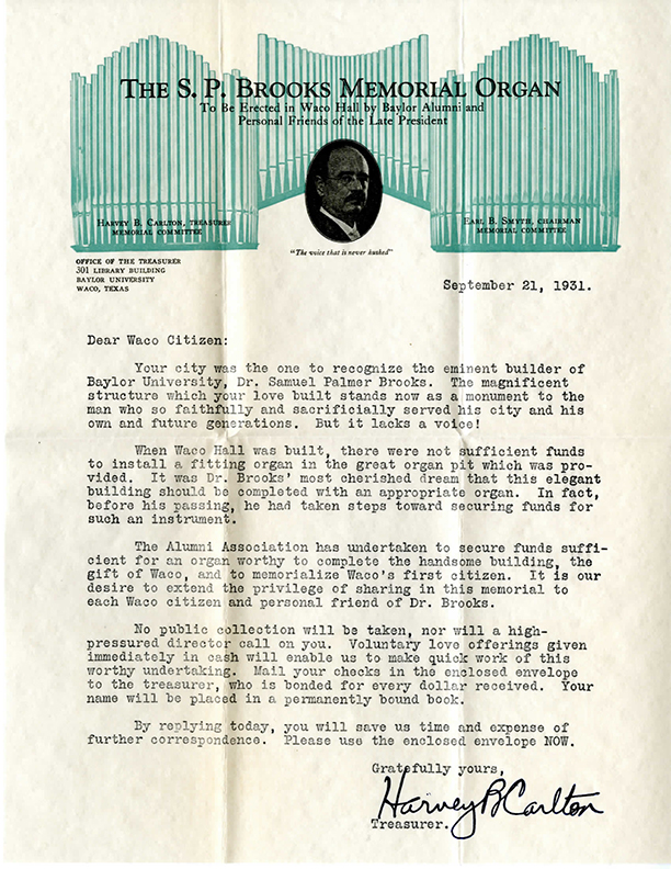 Brooks Memorial Organ solicitation letter, September 21, 1931