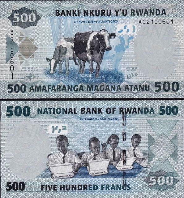 500 Francs Rwanda 2013