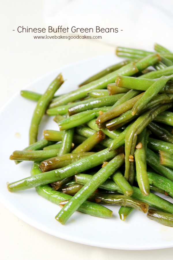 Chinese Buffet Green Beans on a white plate.