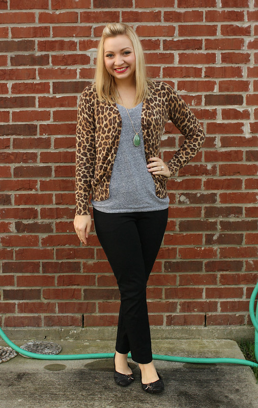 leopard cardigan work outfit