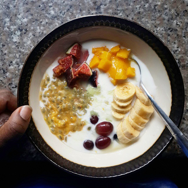 Whenever you wake up, let that be your morning.  Your chance to start again. Anew. Refresh.  This morning's fruit bowl has all my favourite things except cardamom seeds which I really wanted but couldn't find in the pantry.  Mangoes Purple figs Passionfru