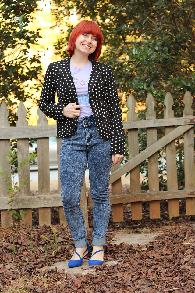 Polka Dot Lauren Conrad Blazer with Acid Wash Skinny Jeans and Blue Flats