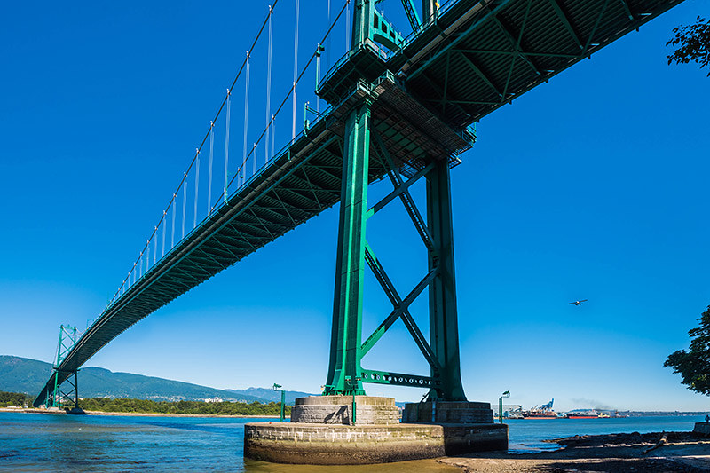 Lion's Gate Bridge across Burrard Inlet, Vancouver, British Columbia, Canada
