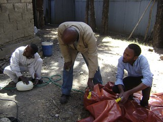 Biogas being pumped_compressed into biogas storage bag  in Sebeta Oromia (Photo:ILRI\ Solomon Gizaw)