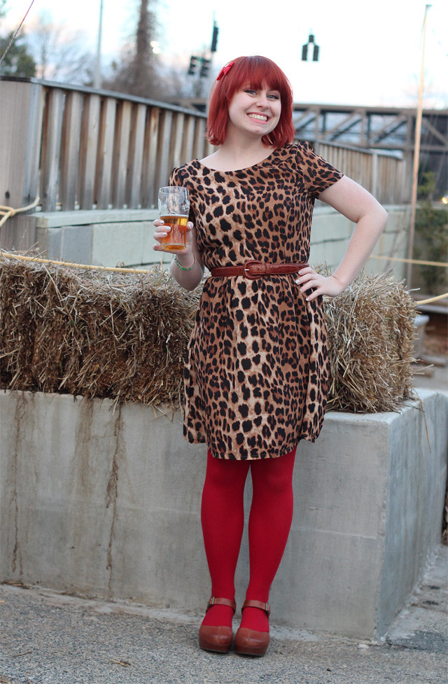 Leopard Print Dress, Red Tights, and Brown Clogs