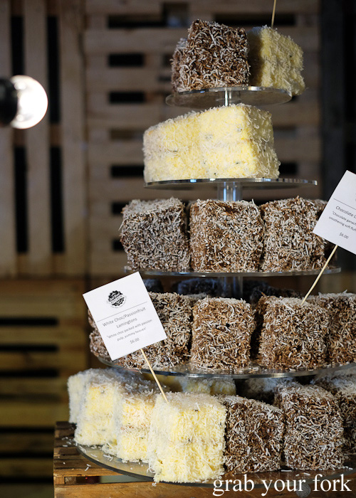 Chocolate lamingtons and white chocolate passionfruit lamingtons at Miami Marketta Street Food Market on the Gold Coast