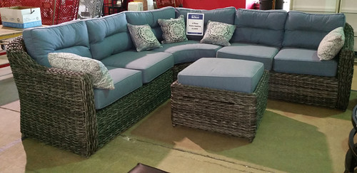 Gray/blue patio sectional $1250