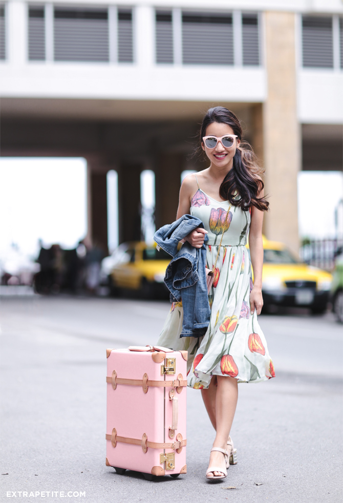 asos tulip floral dress quay sunglasses steamline trunk