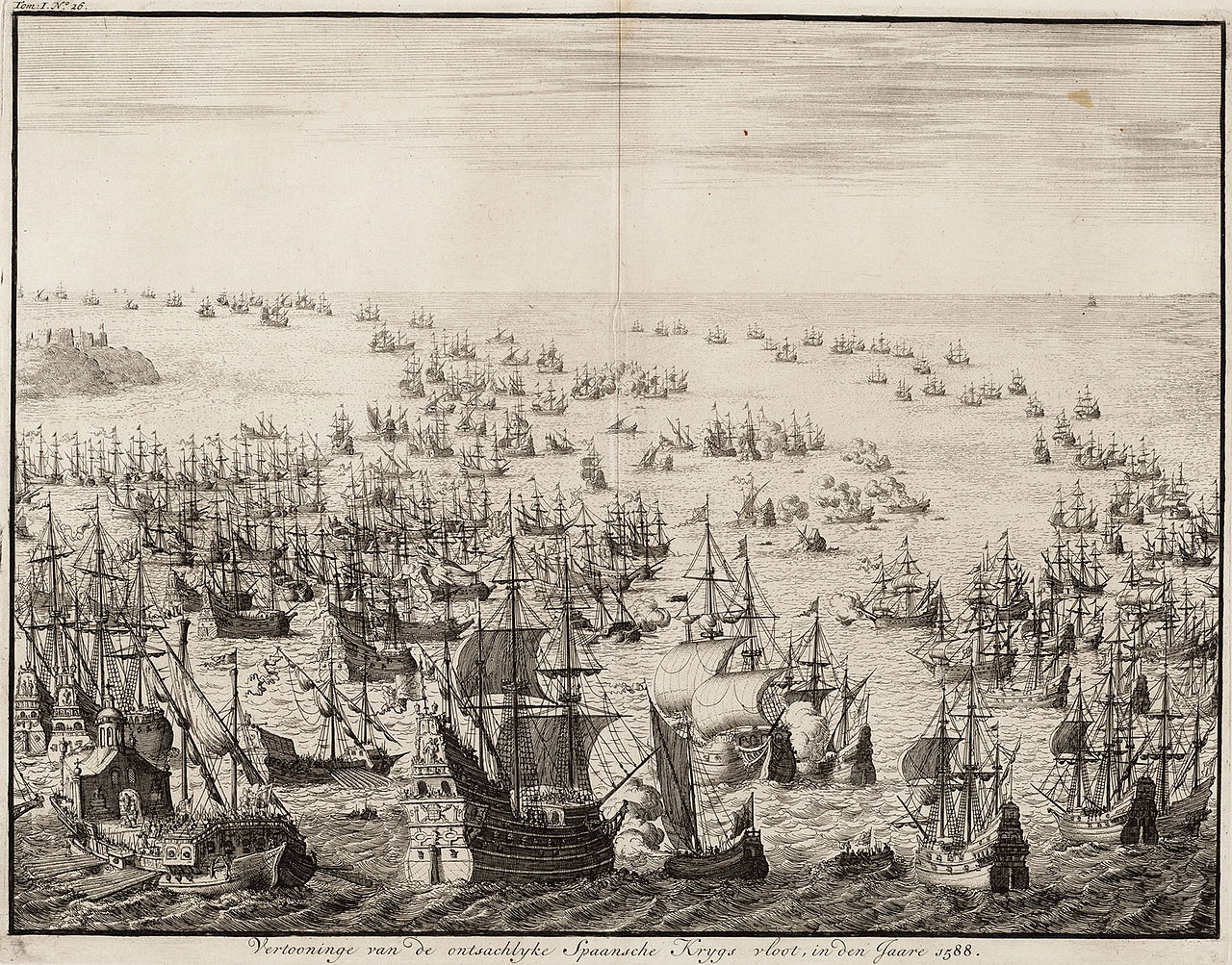 The mighty display of the Spanish armada in 1588 by Jan Luyken.