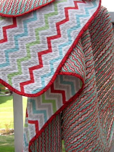 Chenille blanket, chevron