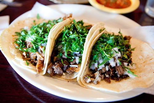 Trio of soft tacos - Goat, Cabeza (head), and Lengua (tongue)
