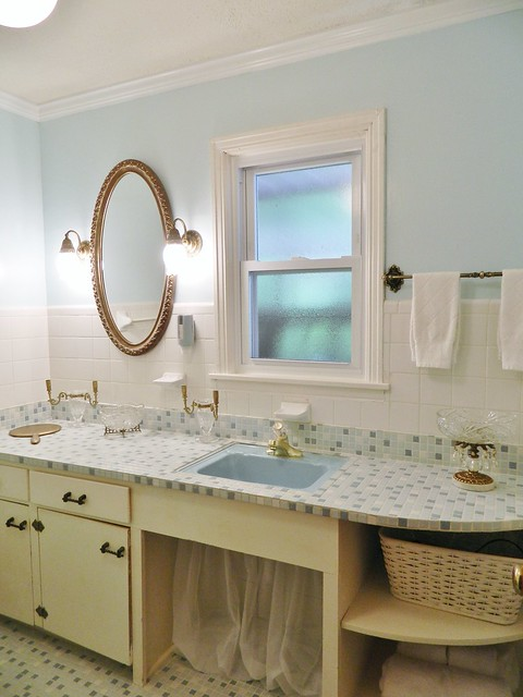blue painted bath