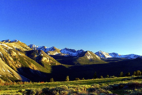 blue sky mountains green landscape montana