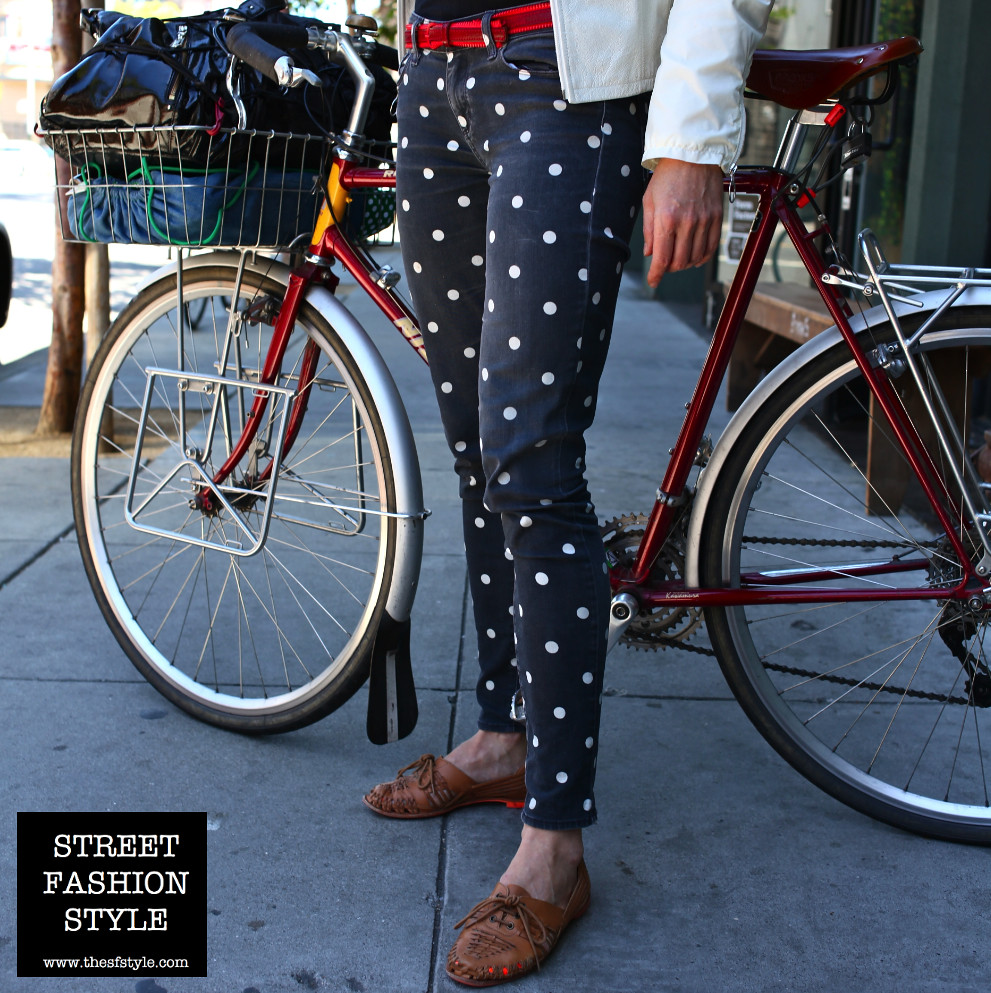 cute bicycle, brooks saddle, polka dots, woven leather, san francisco fashion blog, street fashion style, TheSFStyle, SFStyle,