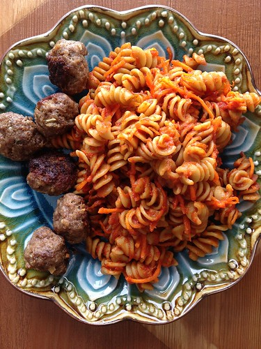 baked rotini and meatballs by Heather Says