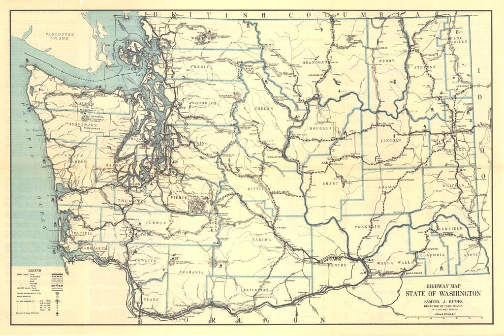 1932 Washington State Highway Map | Washington State Dept of ...