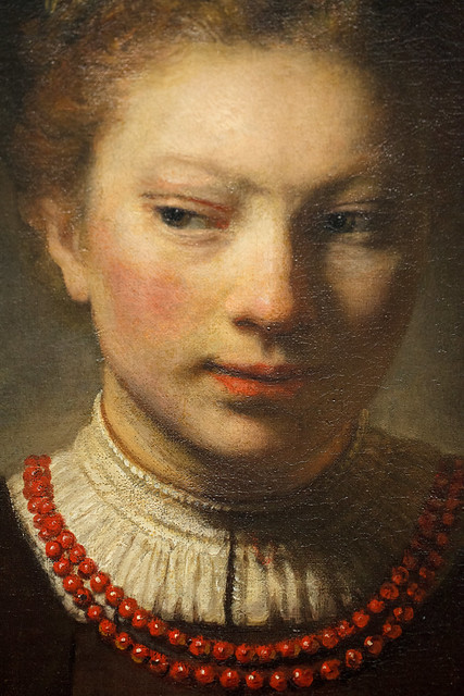 Rembrandt Harmenszoon Van Rijn: Detail From Young Woman At Open Half Door From The