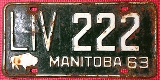 MANITOBA 1963 ---LIVERY LICENSE PLATE