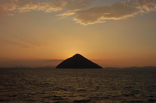 夕焼けの大島