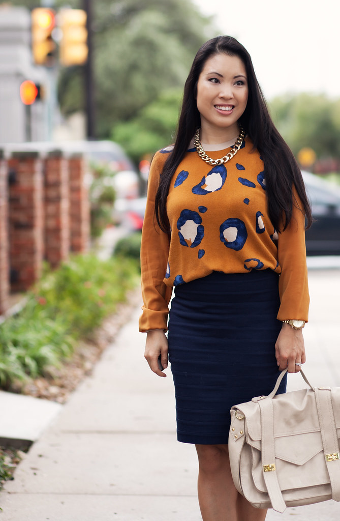 cute & little blog | phillip lim x target leopard sweater, express navy bandage skirt, navy pumps, gold chain necklace outfit #ootd