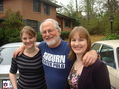 Conner Bailey with his two daughters Rachel (left) and Rebecca (right).
