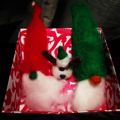 Santa Claus and Snow Man 2013 Felted Christmas Decorations