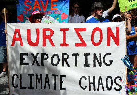 Content from Protest at the Annual General Meeting of rail company Aurizon