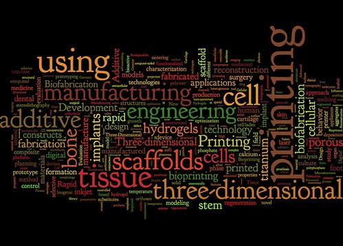 Wordle of 3D printing search results in Pubmed