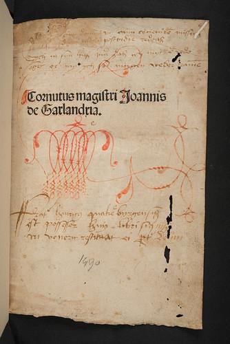Title-page with ownership inscription of Garlandia, Johannes de: Cornutus cum commento