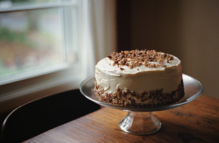 brown butter pumpkin layer cake with cream cheese frosting
