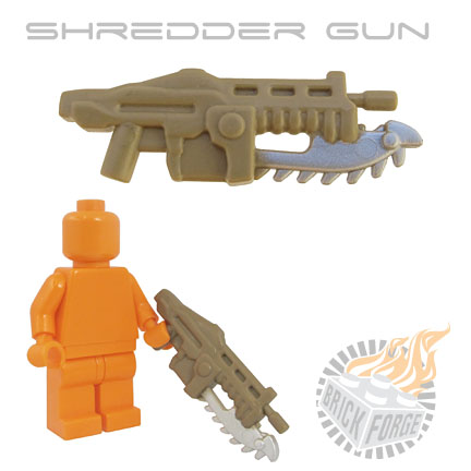 Shredder Gun - Dark Tan (silver blade print)