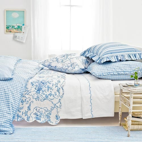 blue gingham toile
