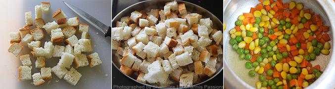 How to make bread upma - Step1