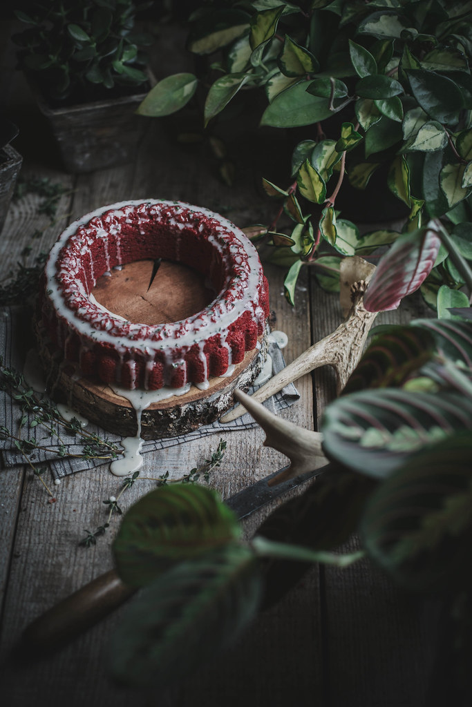 all natural red velvet cake + goat cheese thyme icing (dyed with beets!)